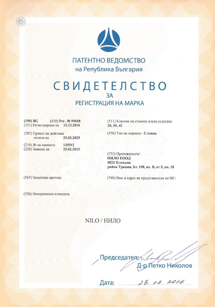 Сертификат TM NILO